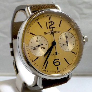 Bell & Ross 42mm Automatic Men's Watch with Brown Suede Band