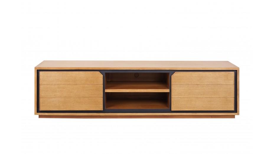 meuble tv design en teck massif 2 portes 2 niches dynamic 180 cm