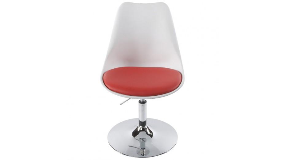 lys chaise moderne pivotante blanche et rouge