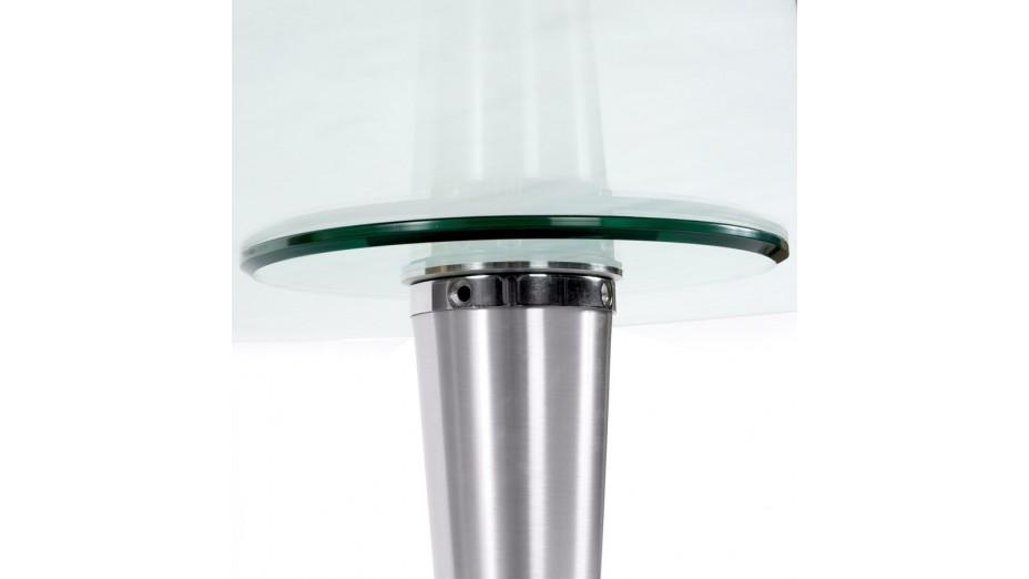 table ovale en verre trempe transparent pied aluminium stil