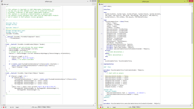 Maximized RAD Studio Code Editor Side-by-Side