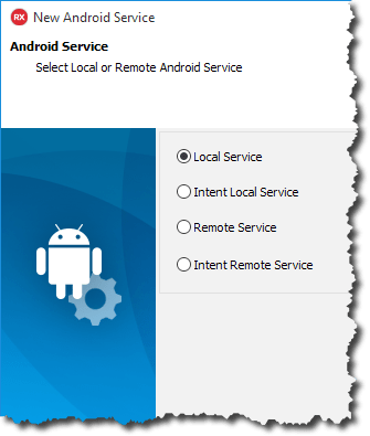 New Android Service Wizard