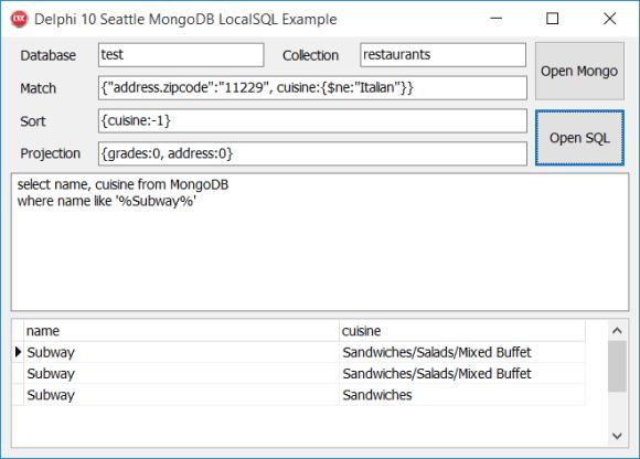 MongoDB FireDAC LocalSQL