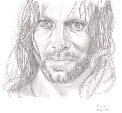 Finished sketch of Aragorn delphina rose | mostly textile art and design