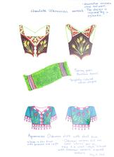 designs for loosely inspired Ukrainian corset, Bolivian towel, and Ottoman shirt
