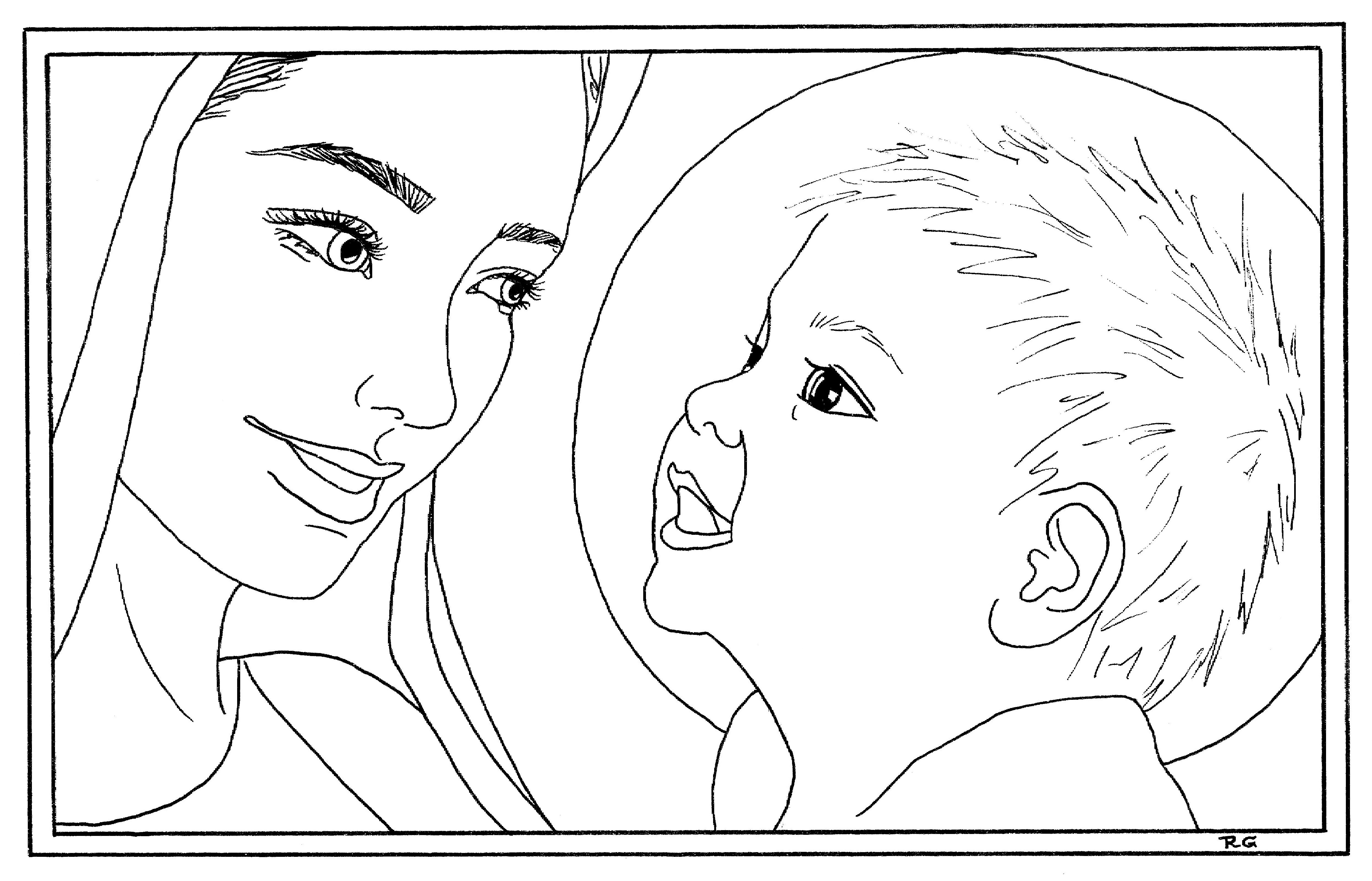 Icon Mary And Jesus Coloring Page Sketch Coloring Page