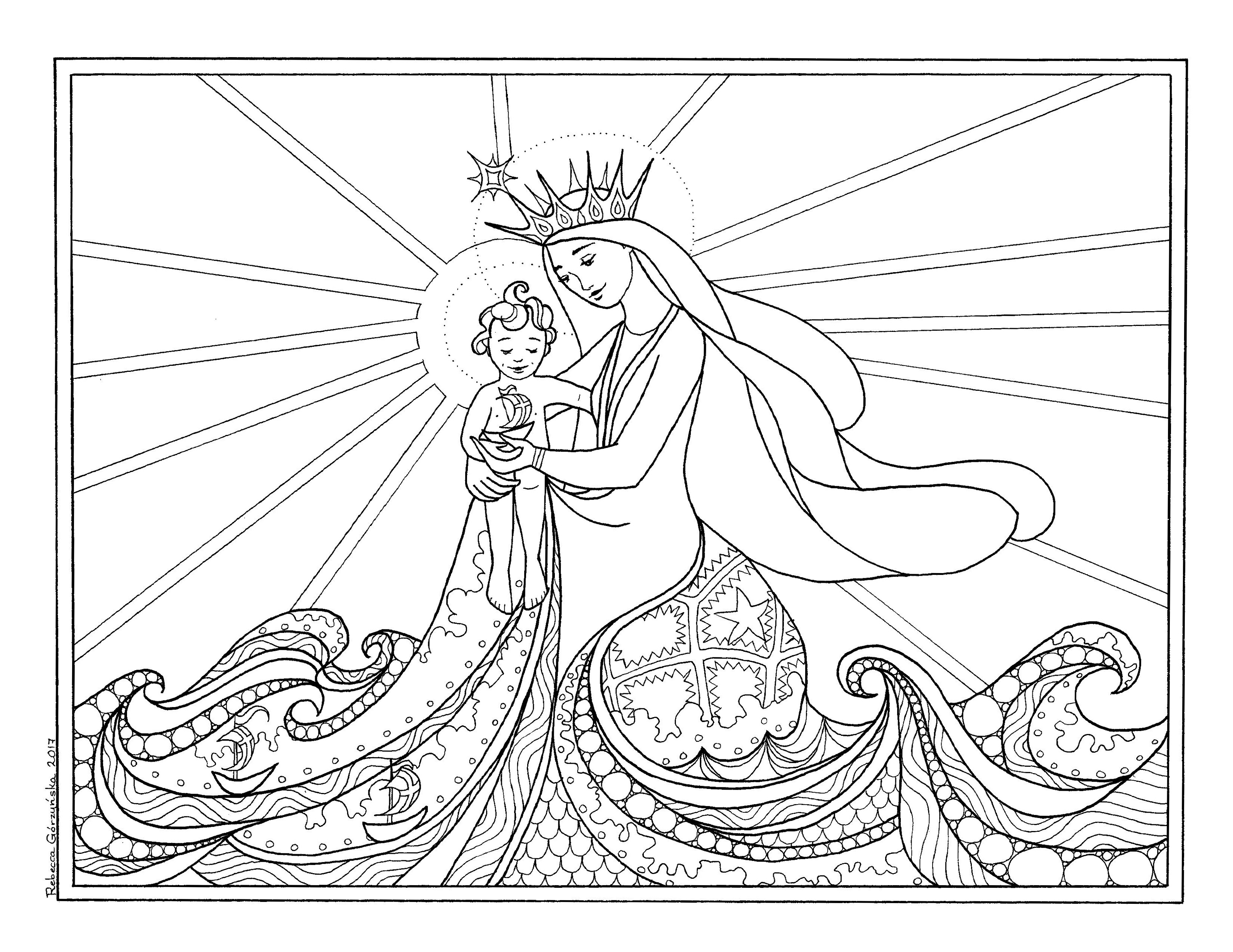 Star Of The Sea Stella Maris Catholic Coloring Page Delphina