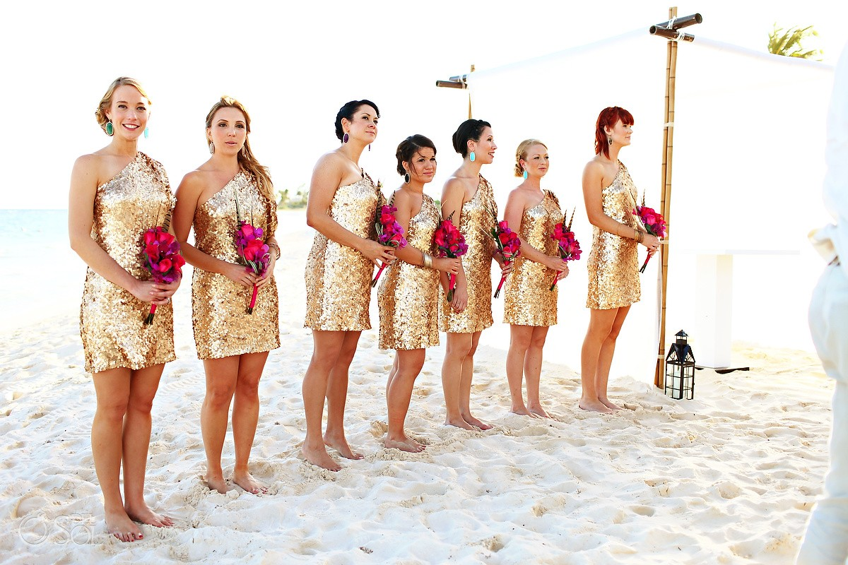 coral and gold wedding table playa del carmen wedding grand
