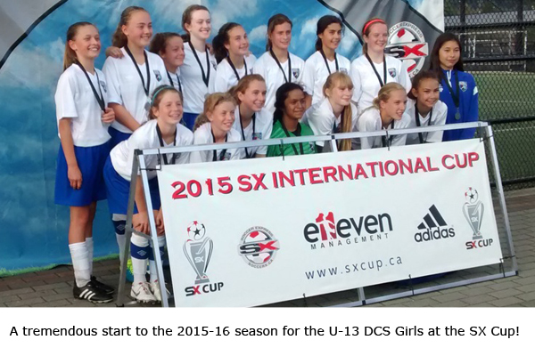 A tremendous start to the 2015-2016 season for the U-13 DCS Girls at the SX Cup!