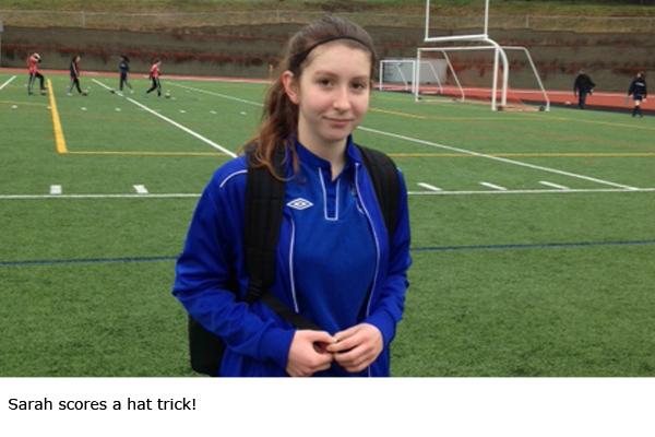 Sarah scores a hat trick!