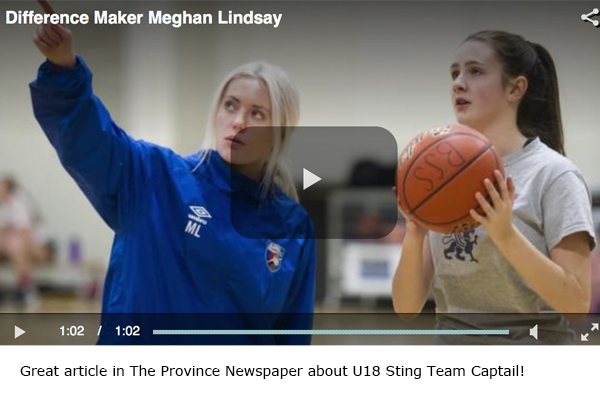 Difference Maker - Meghan Lindsey - U18 Sting Girls Team Captain