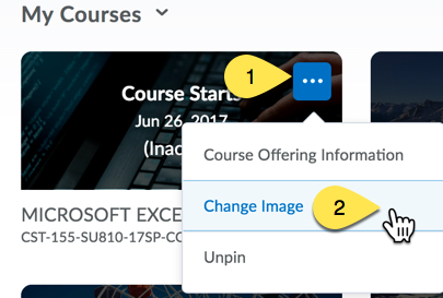 View of My Courses showing the (1) Options Menu and (2) the Change Image link