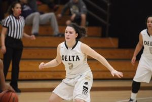 Sophomore guard Natalie Delgado backpedals to help on defense at Joseph Blanchard Gymnasium.