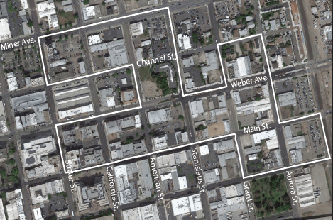 DOWNTOWN DEMOLITION: Ten Space plans to renew Stockton's downtown scene with 10 different blocks filled with residential units and retail space. The project is planned to take seven to 10 years. MAP FROM GOOGLE MAPS, EDITED BY MIDORI MORITA