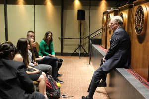 Senate candidate Duf Sundheim addressing forensics before their debate on April 25 at University of the Pacific.