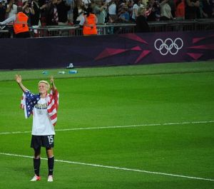 Megan Rapine at the 2012 Summer Olympics wearing american flag. Photo courtesy of Wikimedia Commons.