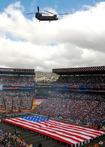 2008 Pro bowl at University of Hawaii stadium during the national Anthem as Army National Guard helicopter flies above. Photo courtesy of Wikimedia Commons.