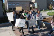 Love Trumps hate: Delta students walkout of class for protest