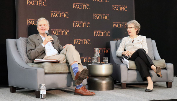 Former New York Times publisher Arthur Sulzberger answers questions from University of the Pacific President Pamela Eibeck during the