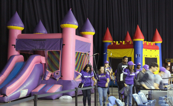 The bouncy houses located in the Stockton Arena during the Stockton's first game ever.