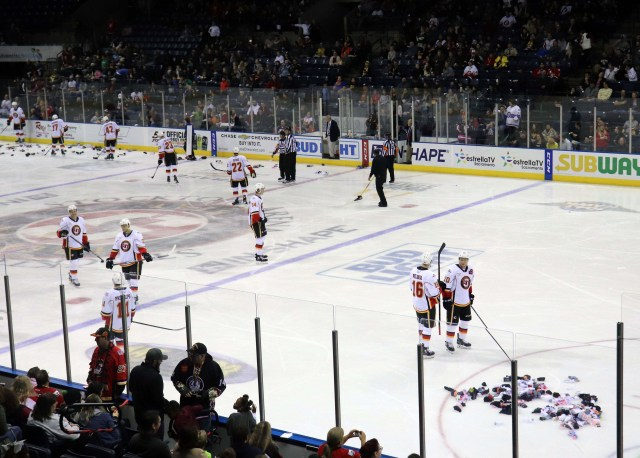 After Stockton Heat scores another point, fans threw socks into the rink for the an organization for local homeless shelters on Nov. 30, 2018.