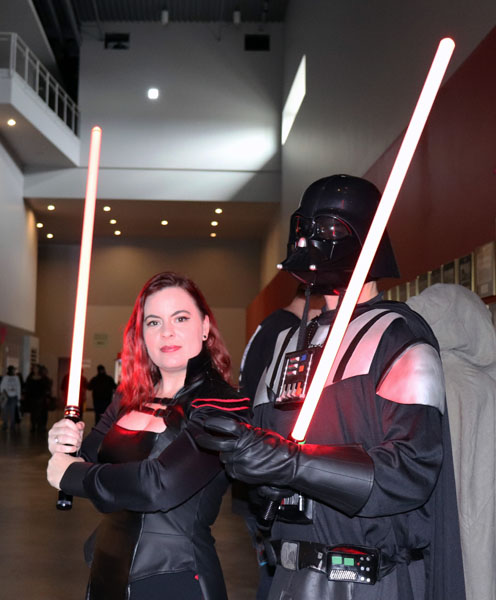 (Left to Right) Pamela Stephenson and TC Morgan dress up as characters from Star Wars. Stephenson is dressed as her own character, Darth Medlinniel a Sith based on the old republic in the Star Wars world. Morgan is dressed as the classic Darth Vader. Photo by Catlan Nguyen.