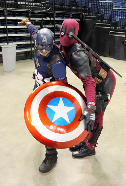 (Left to Right) John Jarvis and Simba Van Gerpen dressed as Captain America and Deadpool at the first winter StocktonCon. Photo by Jasmine Gonzalez.