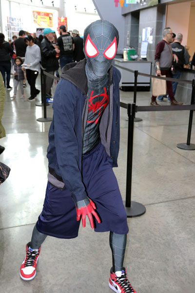 """Barry Tisdale dressed as Miles Moralis the newest Spiderman from """"Into the Spiderverse."""" Photo by Jasmine Gonzalez."""
