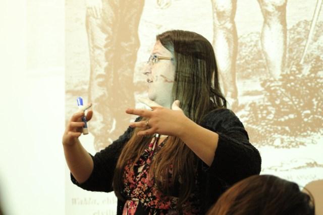 Dr. Sarah Seekatz teaching History 031, Mexican American Studies. PHOTO BY EVA MARTINEZ