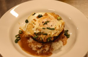 Loco Moco prepared by Delta College Culinary Arts students, who have a space near the grill area Tuesdays and Wednesdays. Photo by Maria Abugarade Rayo