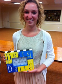 Holly won a Tri Delta picture frame