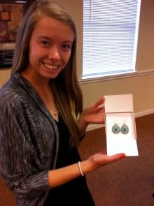 Corinne won Stella and Dot earrings