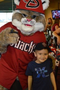 Foundation volunteers and their families were excited to get up close and personal with the D-backs mascot, Baxter.