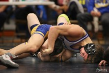 BRHS senior Thomas Dyment gets ready to pin his opponent Curtis Jeppeson of Unalaska in the 113 lb. division championship match during last weekend's regional tournament. photo by Greg Lincoln