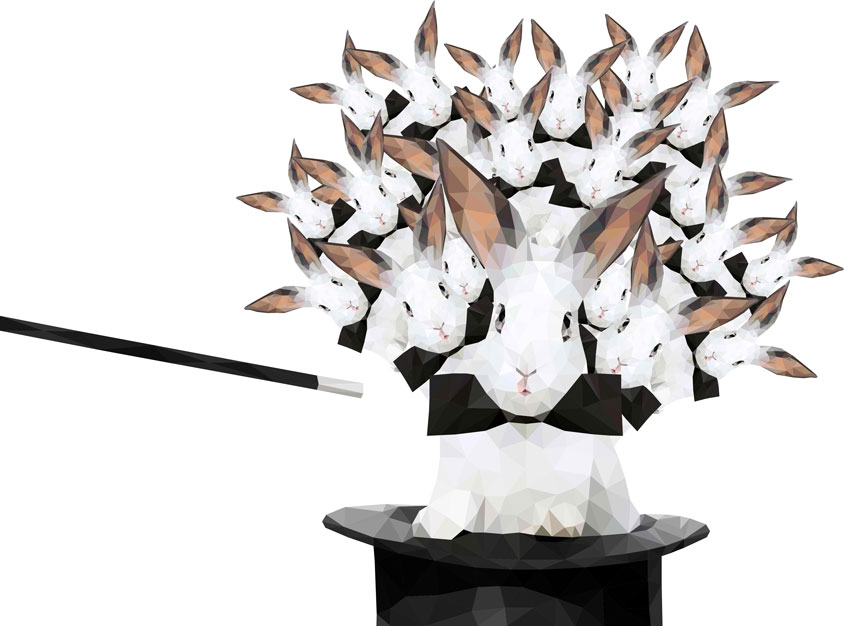 Polyspline rabbits multiplying out of magician's hat