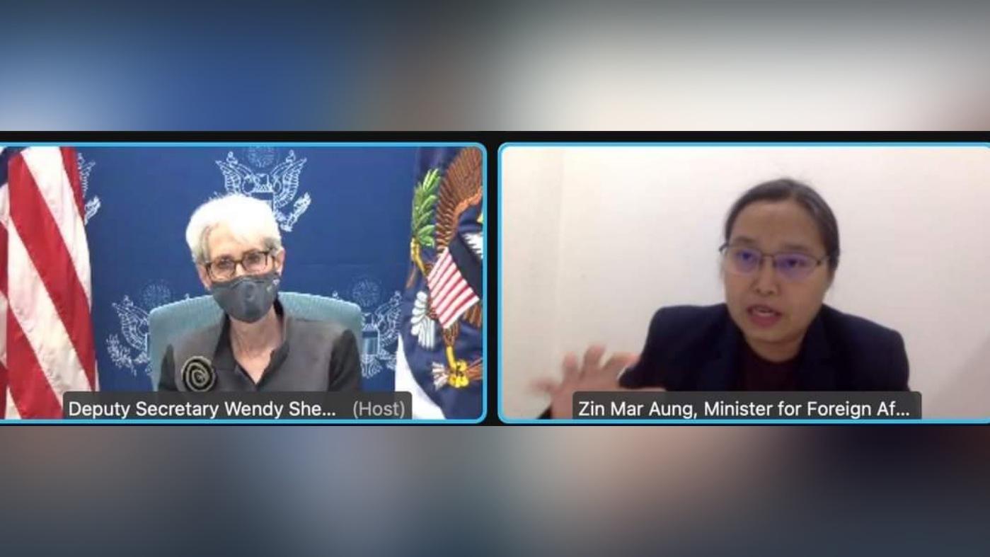 အမေရိကန်ဒုဝန်ကြီးနဲ့ NUG နိုင်ငံခြားရေးဝန်ကြီး ဒေါ်ဇင်မာအောင်တို့ မြန်မာ့အရေး တွေ့ဆုံဆွေးနွေး