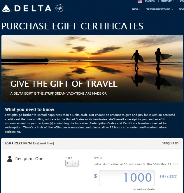 Delta launches e-Gift cards up to $1000 each and 3* per ticket ...