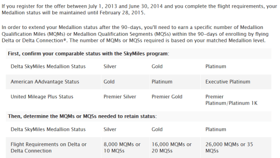 Delta airlines status match challange page delta points blog
