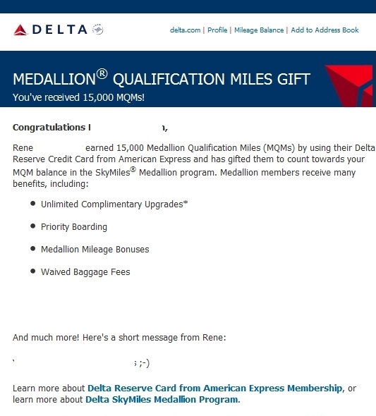 gifting 15000 MQMs Delta airlines delta points blog