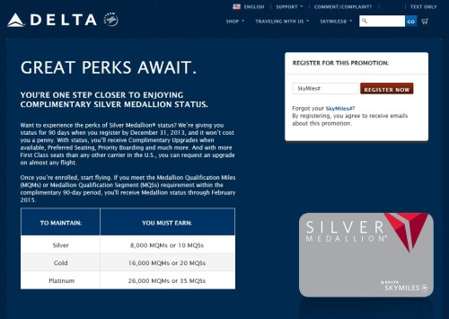 90 days FREE silver status targeted delta airlines