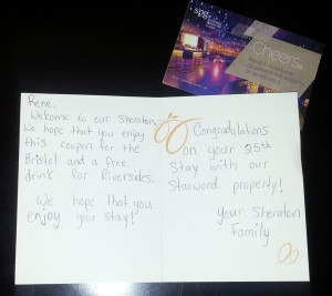 thankyou card from Sheraton SDF to Delta Points blog