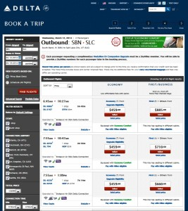 cost to fly sbn-slc delta paid then use swu regional upgrade