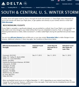 ice storm delta airlines free changes delta points blog