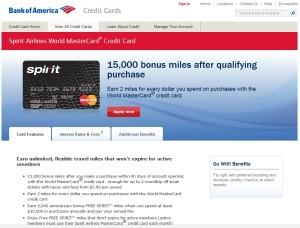 spirt air credit card bank of america
