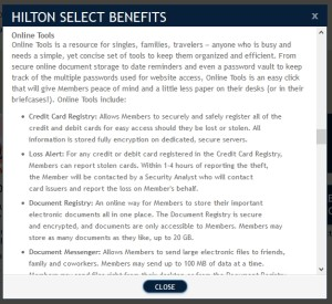 HiltonSelect perks store docs online and credit card info