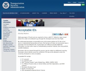TSA web site acceptable ids from web site