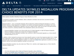 changes to the skymiles medallion choice benefits 2014 from delta-com