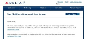 credit from a flight that did not get miles delta points blog