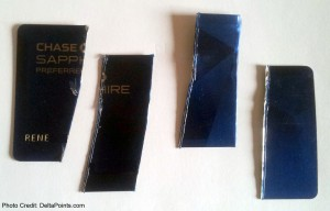 cut up and destroyed chase card metal delta points blog
