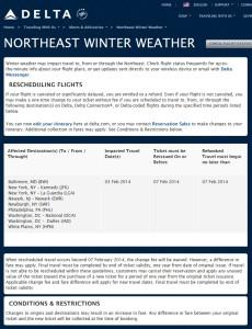 delta air lines northeast winter weather waver 3FEB2014